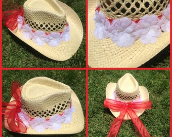 Red and White Flower Cowgirl Hat