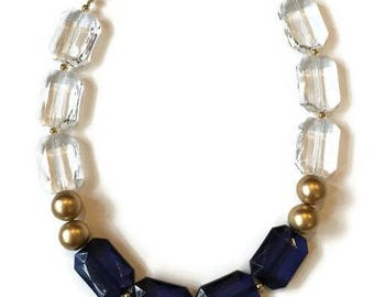 Statement Necklace - Blue Crystal Gold Necklace - Gold Statement Necklace - Sapphire Blue
