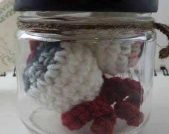 Jar of Crocheted Eyeballs in Silvery Gray and Tan with Pink Glitter (SWG-EY011)