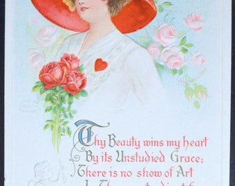 Valentine's Postcard Artist Signed Aleinmuller Gibson Girl Cupid Embossed Card SERIES No. 1514 Art Nouveau Edwardian Beauty