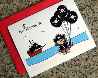 monkey pirate thank you cards halloween costume birthday party (blank or custom printed inside) with red envelopes - set of 10