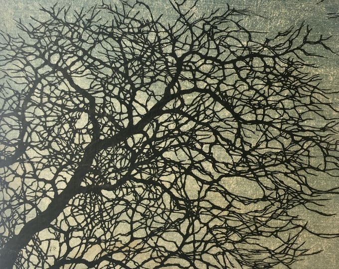 Featured listing image: Original Mounted OOAK Woodblock Tree No. 12 Print - Hand Pulled Fine Art Print - Ready To Hang - featured in Miwest Living magazine!
