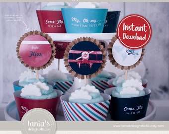 Time Flies - Birthday Cupcake Toppers and Cupcake Wrappers - First Birthday - Instant Download - Tania's Design Studio