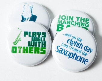 Saxophone and Marching Band Set of Four One Inch Buttons or Magnets - SAX 5