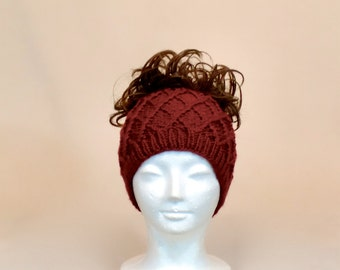Red Ponytail Hat, Knit Messy Bun Beanie with a Hole, Honeycomb Wide Headband, Runner's Ear Muffs