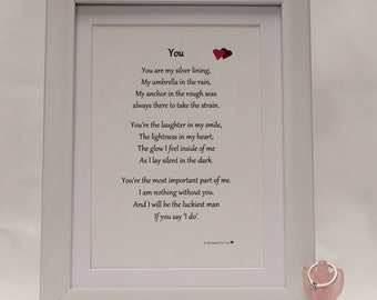 Marriage Proposal Mounted Print, Marriage Proposal Gift, I do Print, Engagement Print, Marry Me Print, Fiance Print, Valentine Print