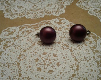 Purple Button Clip On Earrings