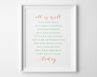 Girls Bedroom Wall Art, Typography Wall Art, Gift for Her Positive Affirmation, Coral Mint Inspirational Teen Room Decor Girls Bedroom Decor