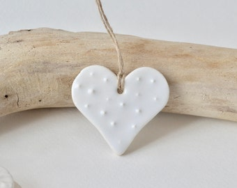 Ceramic Heart Ornament ~ Heart Ornament ~ Heart Ornaments Bulk ~ White Party Decorations ~ Handmade Ornaments ~ Ceramic Gift Tags 1018