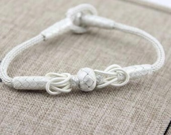 Delicate knot 925 silver braided bracelet