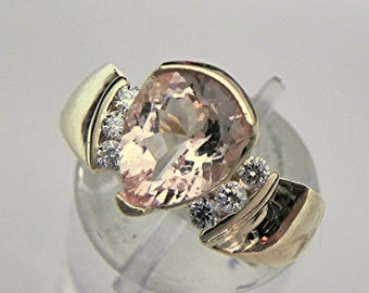 AAA Peach Salmon Morganite   1.78 Carats   in a 14K yellow gold Pear shape Engagement ring with .20 ct of diamonds MMM