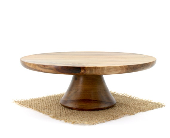 "10 1/2"" Sweet Gum Cake Stand, Wooden Pedestal Cake Plate, Groom Stand, Cupcake Stand"