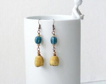Boho Earrings, Bohemian Earrings, Southewestern Jewelry, Earthy Earrings, Natural Earrings, Ethnic Earrings, Ceramic Earrings, Mothers Day