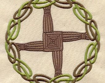 Celtic Brigid's Cross Embroidered Flour Sack Hand/Dish Towel
