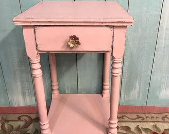 Vintage nightstand pink distressed shabby chic cottage