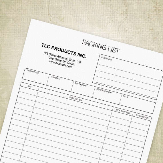 Packing Slip Printable Form Pdf Packing List Shipping For