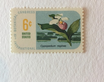 10 Vintage 6c US postage stamps - Botanical Congress Showy Lady's Slipper 1969 - Minnesota wildflower pink orchid nature - unused