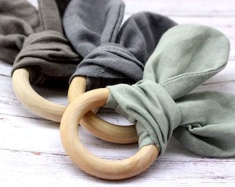 TEETHING RING TOY Linen Wooden Natural Ecological Montessori Baby Toddler Boy Shower Gift Organic Bunny Ears Safe Game Pure Linen Gray Green