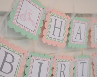 Vintage tricycle Happy Birthday banner-pink and green tricycle party