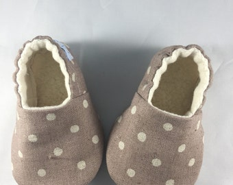 Canvas baby shoes,baby shoes, polka dot baby shoes, baby slippers, baby moccasins, soft sole shoes, booties, crib shoes, baby shower gift