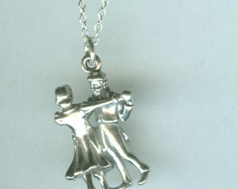 Sterling Silver TANGO DANCERS Pendant and 20 Inch Chain