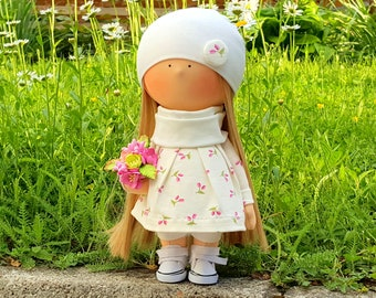 Doll Handmade Doll Fabric Doll Textile Doll Tilda Doll Collectible doll Rag doll Interior Doll Decor Doll Home decoration Doll with flowers
