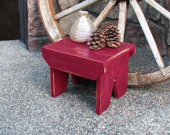 """Small Farmhouse Stool - Hand painted, rustic, step stool, primitive - 10.5"""" (h) x 10.5""""(d) x 14"""" (w)."""