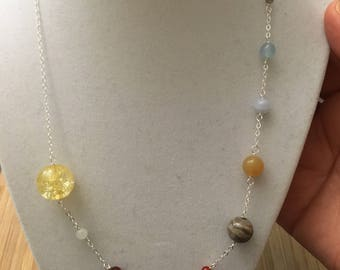 Solar System (including PLUTO!) sterling silver and gemstone bead necklace -- science education geek chic collection earth Venus Saturn