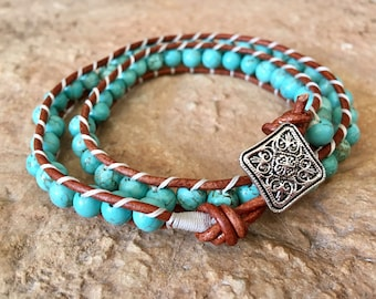 Turquoise Double Wrap Beaded Ladder BraceletLadder Bracelet