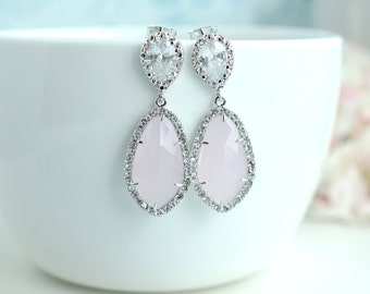 LUX Rhodium Plated Cubic Zirconia Pink Teardrop Earrings. 925 Ear Post. Bridal Wedding Jewelry, Pink and Silver Plated Wedding. Pink Opal