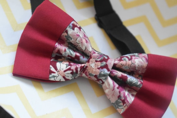 Kids Red Floral Bow Tie with Red Suspenders / Braces  for Baby, Toddlers and Boys - Wedding / Church/ Cake Smash / Birthday / Christening