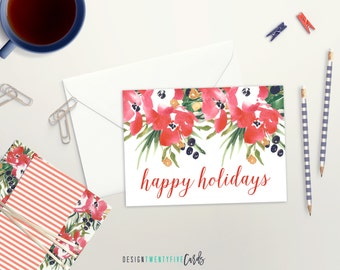 Floral Happy Holidays Card   Set of 4, 10, 25 or 50   Holiday Card Set   Watercolor Floral Holiday Card   Christmas Card Boxed Set