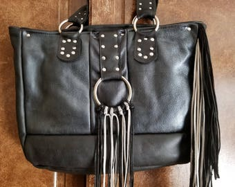 Large Handcrafted Black Leather Overnight Bag, Large Black Leather Fringe Bag, Long Fringe Bag, Leather Fringed Handbag/Overnight Bag