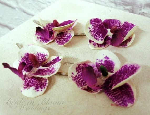 Orchidee Haarspangen lila und weiß Braut Haarnadeln Haar