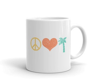Peace Love Palm Tree Beach Summer Vacation Coffee Mug