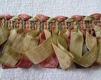 Amazing ribbon Fringe trim in gold peach green