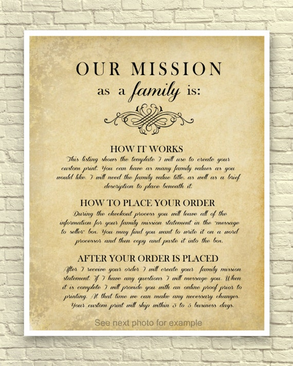 Family Mission Statement Custom Mission Statement Family