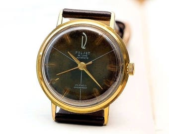 Poljot de luxe Gold Plated Automatic USSR Russian Soviet Men's Watch with new leather strap