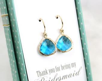 Teal blue earrings, Stone dangle earrings, Bridesmaid gift, Bridal earrings, Maid of honor gift, Wedding gift earrings, Bridesmaid earrings