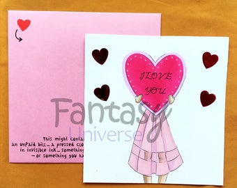 Romantic Handmade Postcard - Fashion - I love you