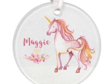 Unicorn Ornament Unicorn Christmas Ornament Personalized Unicorn Ornament Unicorn Personalized Ornament RyElle Christmas Ornament