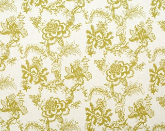 Linen Fabric By the yard Blossom Kiwi on Ivory
