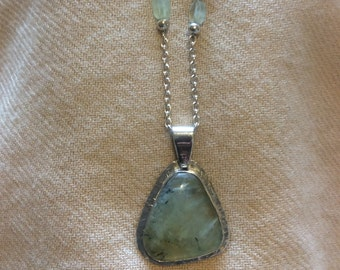 Prehnite and sterling silver pendant necklace