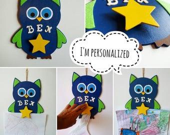 Art Work Display, Kids Art Display, Kids Artwork Display, Display Art Personalized, Owl Wall Decor, Kids Personalized, Boy Birthday Gift