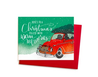 Christmas Card, Vintage VW Bug Volkswagen Memories Christmas Card