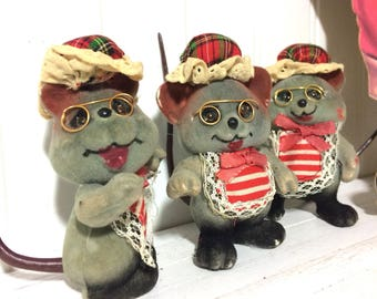 3 Vintage Flocked Christmas Mice