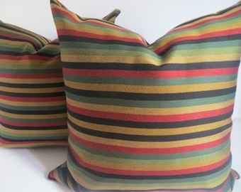 Pillow Covers,18x18,  Multicolor Pillow- Striped Green - Black-Red- Yellow- Mustard Pillow