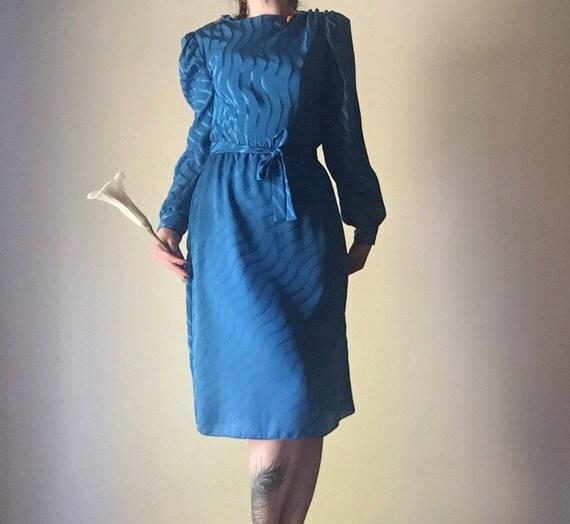 Puff Sleeve Dress | waist tie long sleeve blue 80s vintage preppy kitsch professional work dress small S medium M elastic waist