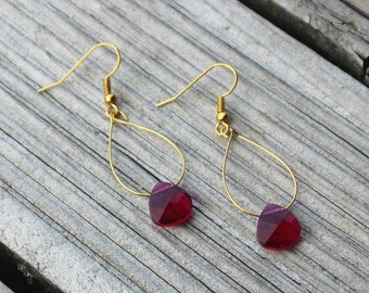 Cranberry Earrings with Swarovski Crystal Ruby Briolettes