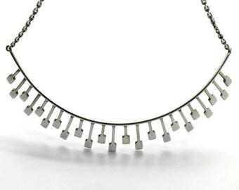Modernist Brutalist Victor Janson Silver Tiara Necklace Lindesberg Sweden 1971